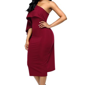 Burgundy Batwing Sleeve One Shoulder Sheath Dress