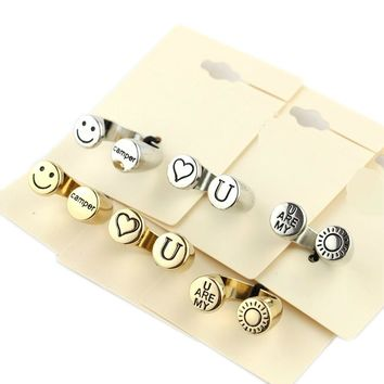 Specials Accessories Personality Simple Love Rings Gold and Silver Two-color Alloy Ring Sun Smiley Hand Ornaments KC