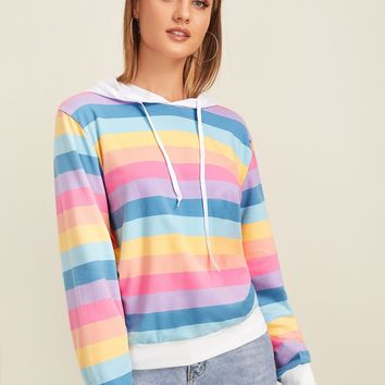 Rainbow Striped Drawstring Hoodie