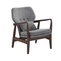 Dobra Mid-Century Modern Grey Fabric Upholstered Club Chair With Sleek Polished Wood Arms In Walnut Finishing | Overstock.com Shopping - The Best Deals on Living Room Chairs