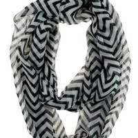 Caramel Cantina Soft Chevron Sheer Infinity Scarf (Black/White)