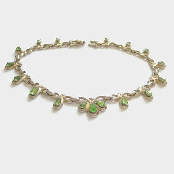 Art Deco Rhinestone Necklace, Green Crystal Choker, Designer Signed Barclay, Vintage Costume Jewelry