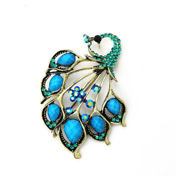 Vintage Antique Gold Turquoise Peacock Brooch Pin