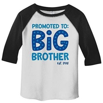 Shirts By Sarah Boy's Toddler Promoted To Big Brother EST. 2018 3/4 Sleeve Raglan