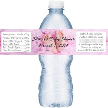 21 Girl Baby Feet Baby Shower Water Bottle Labels