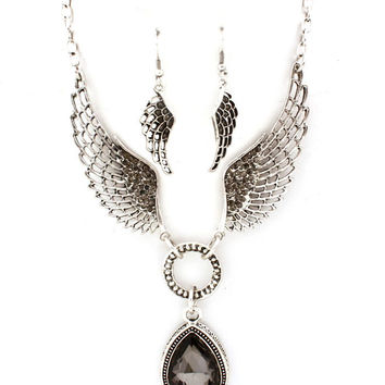smoky angel wing necklace and earrings set