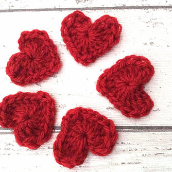 Little red crocheted hearts appliqués embellishments motifs supplies