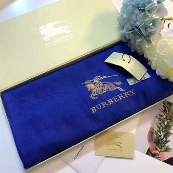 CREYUX5 Luxury Burberry Keep Warm Scarf Embroidery Scarves Winter Wool Shawl Feel Silky And Delicate - Blue