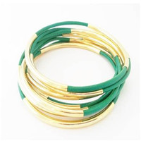 Bracelets-Bangles, Emerald Green Leather with Double Tube Accents -By LEATHER WRAPS