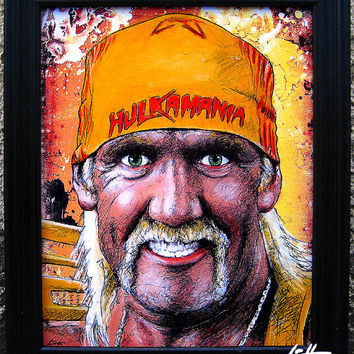 Hulk Hogan - Original Drawing - Wrestler American Macho Man Wrestling WWF Andre The Giant Pop Art Muscles 80s 90s Vintage Mustache Lowbrow