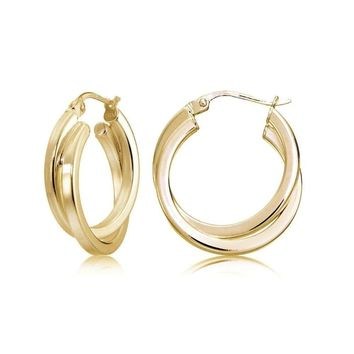 Gold Flash Silver Square-Tube Double Twisted 15mm Round Hoop Earrings