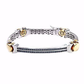 2.5ct Pave Princess Black Diamonds in 14K Two Tone ID Men's Bracelet 7.5""