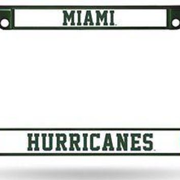 Miami Hurricanes GREEN FRAME Metal Chrome License Plate Cover Tag University of