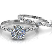 Delicate 14K White Gold Moissanite Engagement Ring Round Solitaire Wedding Ring with Diamonds