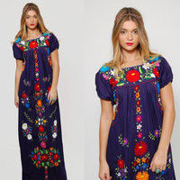 Vintage MEXICAN Dress Navy Blue EMBROIDERED Dress Ethnic Hippie Dress Boho Festival Tent Dress Cotton Maxi Dress OAXACAN Dress