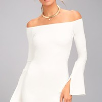 Marseille White Off-the-Shoulder Long Sleeve Bodycon Dress