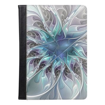 Flourish Abstract Modern Fractal Flower With Blue iPad Air Case