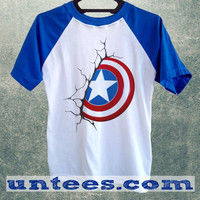 Captain America Logo Basic Baseball Tee Blue Short Sleeve Cotton Raglan T-shirt
