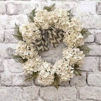 Chevron Burlap Hydrangea Wreath Summer Front Door Wreat