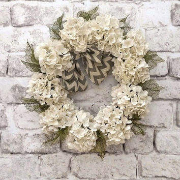 Chevron Burlap Hydrangea Wreath, Summer Wreath, Front Door Wreath, Outdoor Wreath, Burlap Wreath, Floral Wreath, Grapevine Wreath, Wedding