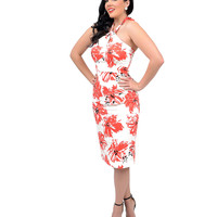 Stop Staring! 1950s Style White & Coral Pink Acacia Floral Halter Wiggle Dress