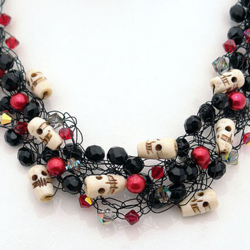 Love & Skulls - Crocheted wire necklace and earrings with a dark flair - Blood red pearls and crystals, vintage black glass, bone skulls.