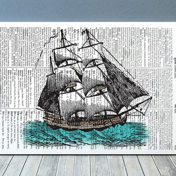Dictionary print Nautical art Ship poster Victorian print RTA1148