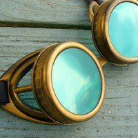 Steampunk Victorian Aviator GOGGLES glasses  Time Travel Crazy Scientist's Oculo-Vision Tool---D gold green