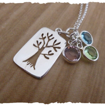 Sterling Silver tree of life moms necklace swarovski elements birthstones dainty feminine pretty necklace for mother aunt grandmother nanny
