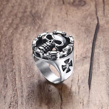 Men's Stainless Steel Rings Riders on the Storm Big Bold & Heavy Motorcycle Chain Skull Ring Silver Black Tone Jewelry