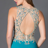 Long Prom Dress with Open Back and Beading