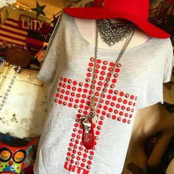 Crimson Cross top from PeaceLove&Jewels