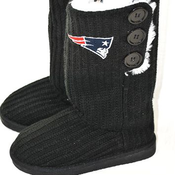 New England Patriots Officially Licensed (size XL Womans 11-12) Knit Button High Fashion Boots Slippers