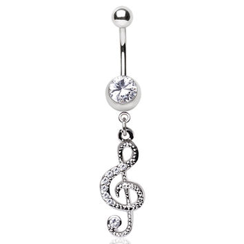 316L Surgical Steel Glass/Gemmed Musical Treble Clef Dangle Navel Ring