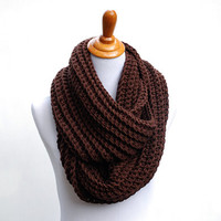 Crochet cowl scarf brown, women's accessories, gifts for her 50 and under, The Battery Park scarf