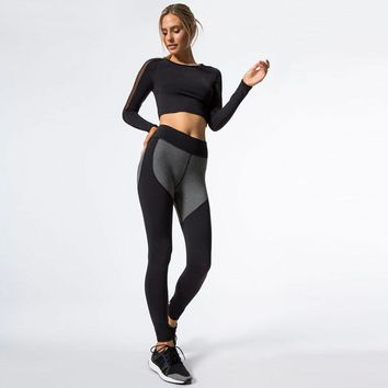 2018 New Hit Color Patchwork Tracksuit Crop Top Tank And Leggings Sporting Skinny Clothing 2 Pieces Mesh Women Clothing