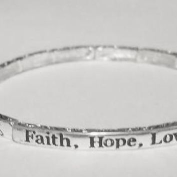 Faith Hope Love Stackable Stretch Bracelet