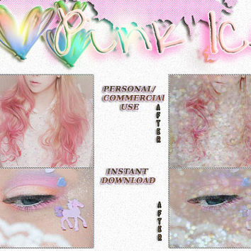 "Photoshop PSD Coloring File Instant Download Photo Effects Actions ""Pink Ice"" Glitter Pale Sparkles Fairy Kei Lolita Kawaii"