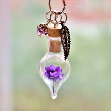 Amethyst Necklace Purple Flower Terrarium Necklace Spring Easter Jewelry Unique Gift February Birthstone Crystal Necklace  Dried Flower