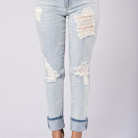 Eddie Boyfriend Jeans - Light Wash