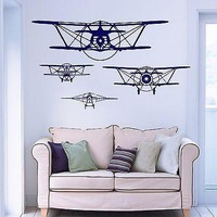 Wall Vinyl Retro Old Airplane Aircraft Guaranteed Quality Decal Unique Gift (z3480)