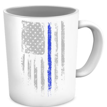 Law Enforcement Patriotic Thin Blue Line Mug