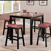 5 pc portland square brown faux marble counter height dining table set