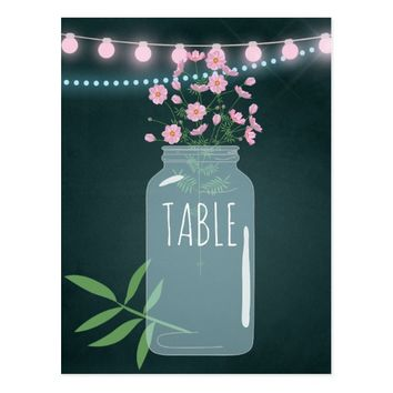 Pink and blue Cosmos floral Wedding Table Number Postcard