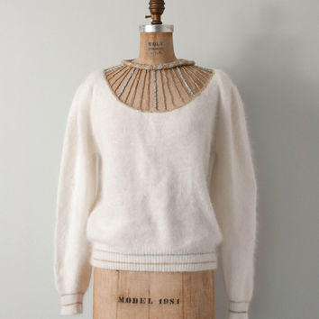 vintage angora sweater / caged neckline / glam ivory sweater / the Red Hot Rabbit sweater