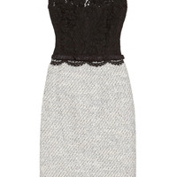 Valentino | Belted lace and tweed dress | NET-A-PORTER.COM