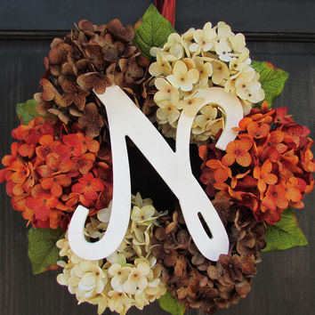 Orange, Cream & Brown Hydrangea Monogram Wreath