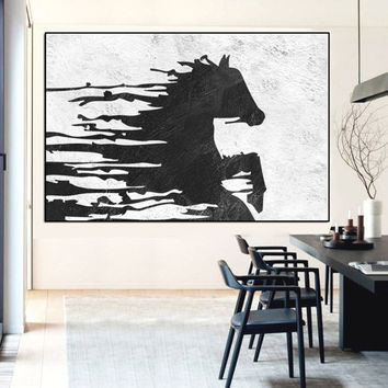 horse acrylic painting, Abtract horse painting large, extra large wall art canvas, black and white wall art, wildwide painting art canvas