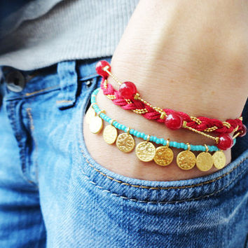 Ethnic bracelet red turquoise evil eye money charm jewelry turkish istanbul best friend birthday bracelet christmas gift women