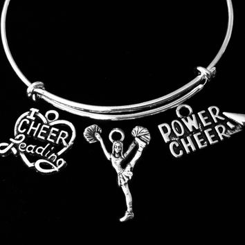 Power Cheer Cheerleading Jewelry Adjustable Bracelet Expandable Wire Bangle Cheerleader I Love Cheerleading Trendy Gift